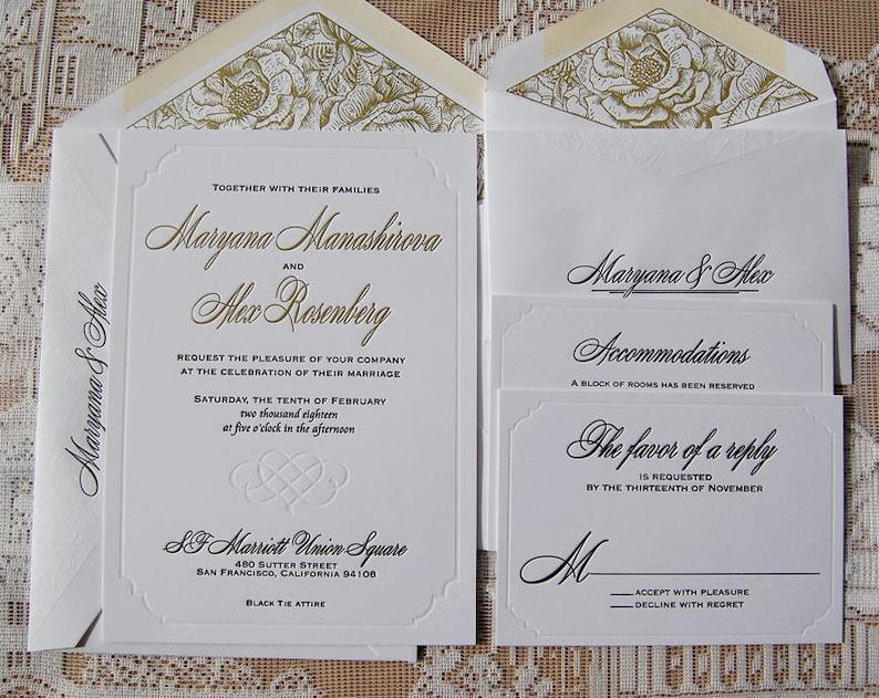 Letterpress Wedding Invitation DEPOSIT Classic Suite Modern