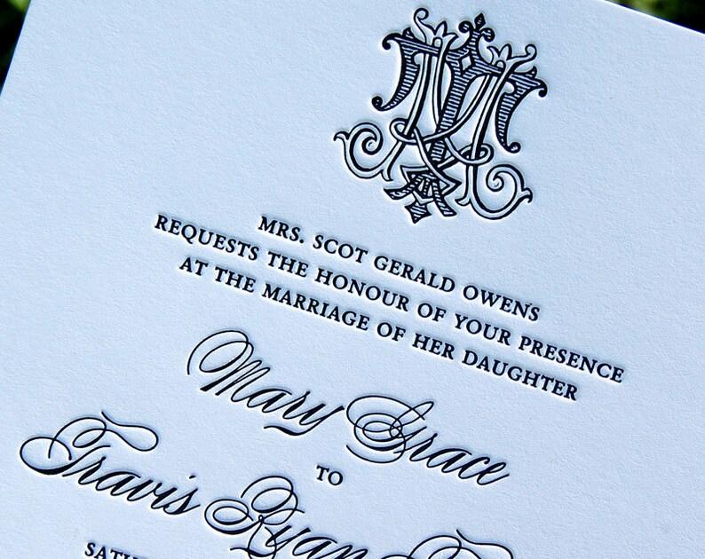 Letterpress Wedding Invitation Sample Classic Suite Monogram Invitations