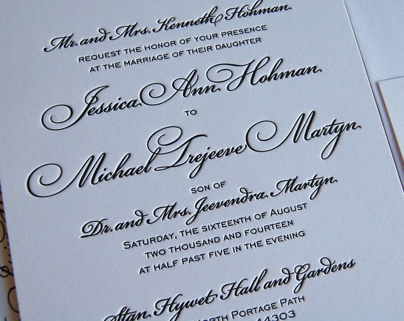 Letterpress Wedding Invitation Sample Classic Suite Calligraphic Invitations