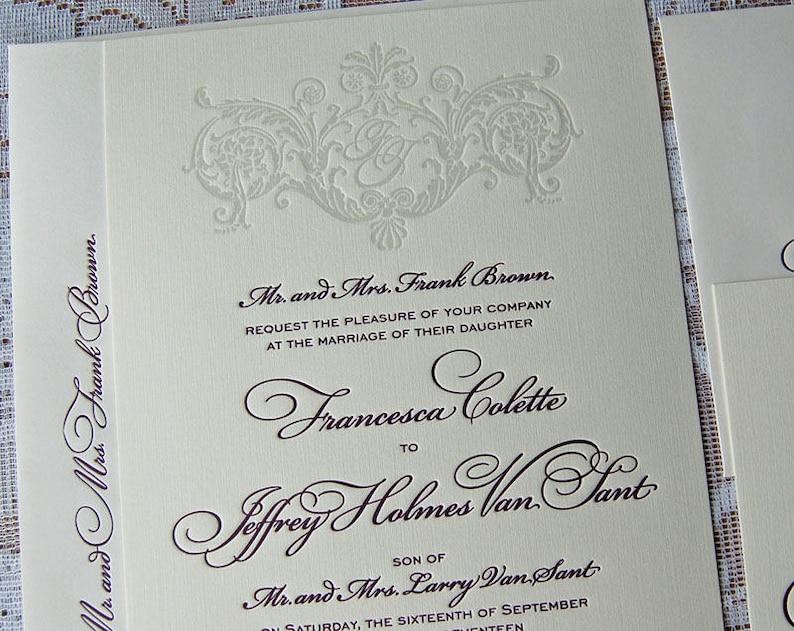 Letterpress Wedding Invitation Sample Classic Suite Monogram