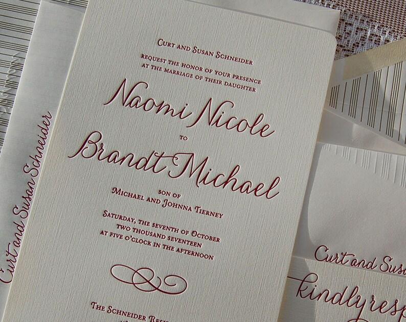 Letterpress Wedding Invitation Sample Invitations Suite Elegant Invite
