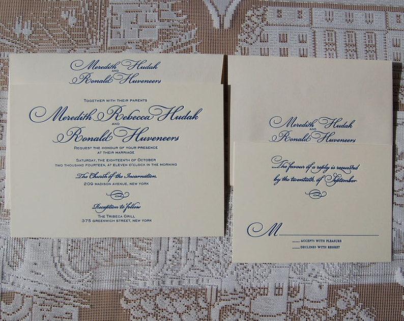 Letterpress Wedding Invitation DEPOSIT Classic Invitations Elegant