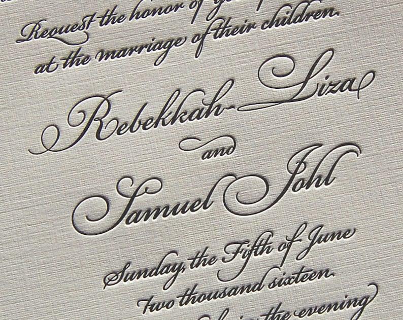 Letterpress Wedding Invitation Sample Classic Invitations