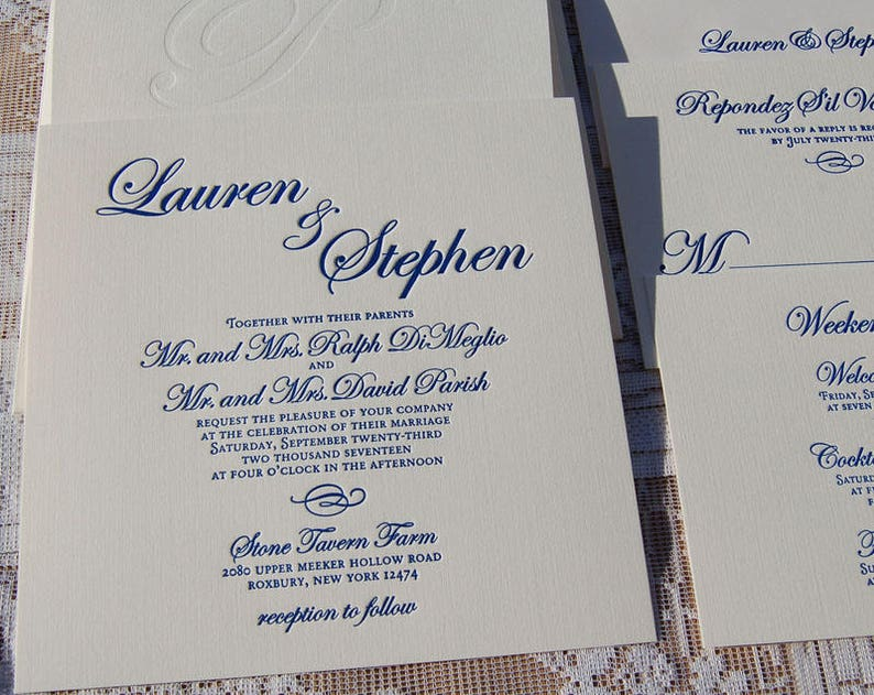 Letterpress Wedding Invitation Sample Traditional Invitations Modern