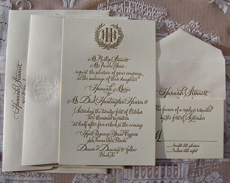 Large Letterpress Wedding Invitation DEPOSIT Gold Suite Invitations Monogram Invite