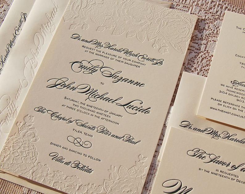 Large Letterpress Wedding Invitation Sample Flower Suite Invitations Roses