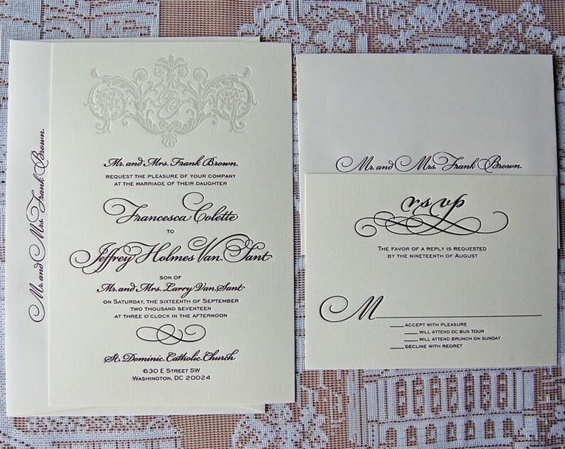 Letterpress Wedding Invitation DEPOSIT Classic Monogram Suite