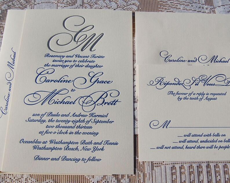 Letterpress Wedding Invitation DEPOSIT Invitations Suite Elegant Modern Invite
