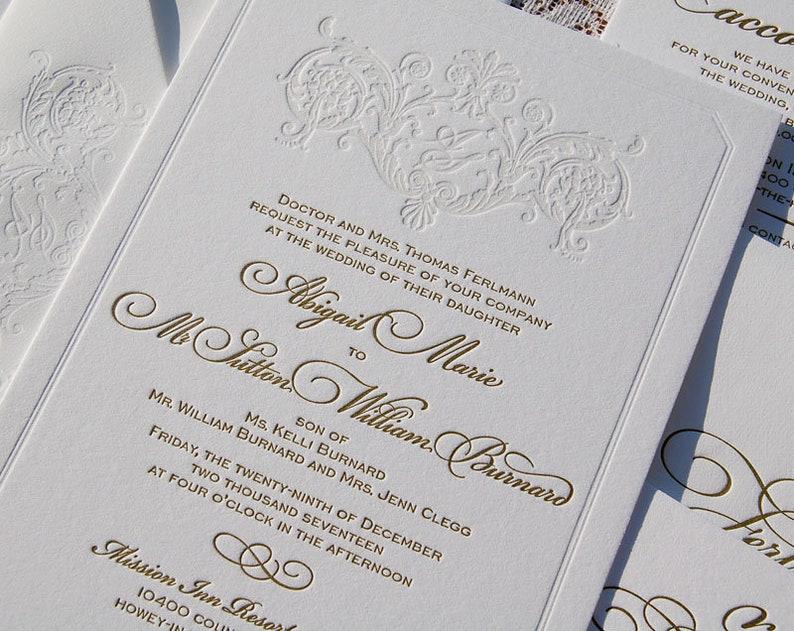 Letterpress Wedding Invitation Suite Monogram Classic Calligraphic Gold Modern Elegant Sample