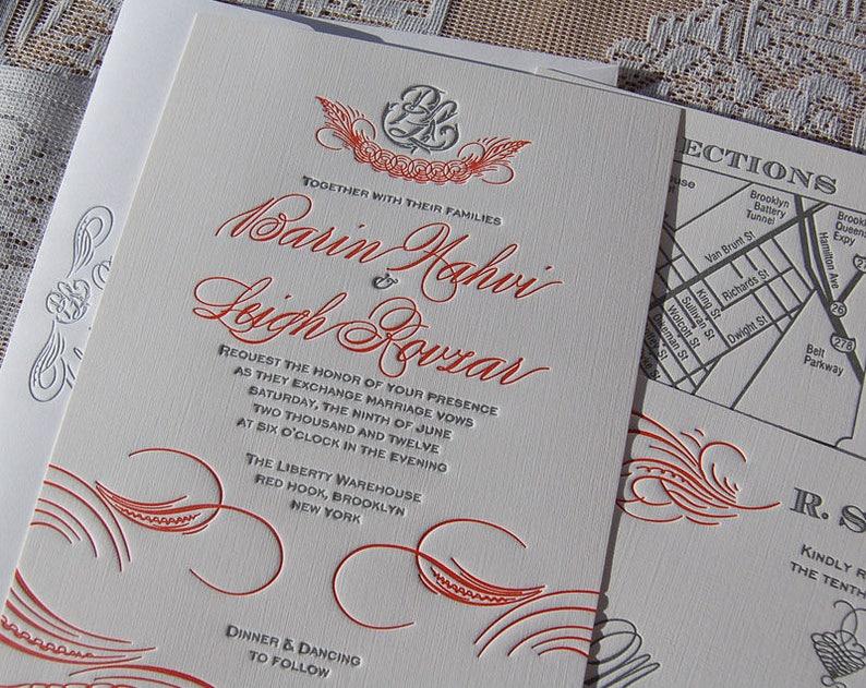 Letterpress Wedding Invitation Sample Classic Invitations Flourish