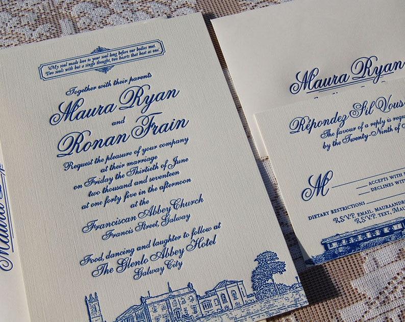 Letterpress Wedding Invitation Sample Classic Suite Illustrated