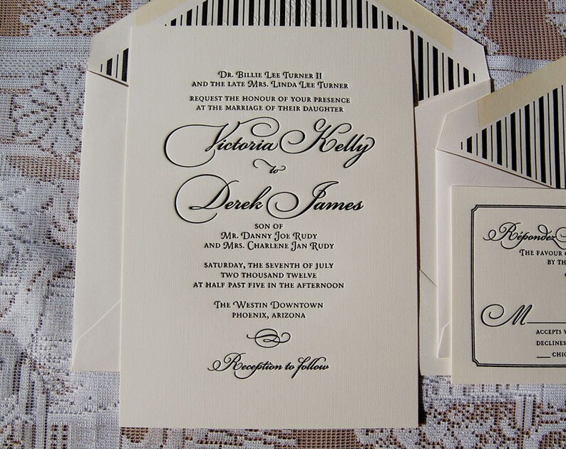 Letterpress Wedding Invitation Sample Classic Suite Calligraphic