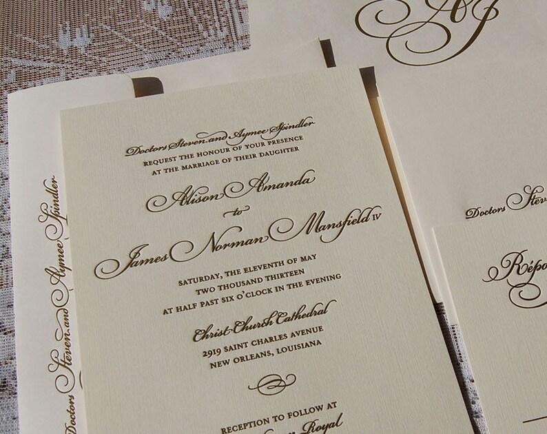 Letterpress Wedding Invitation Sample Gold Suite Invitations Script
