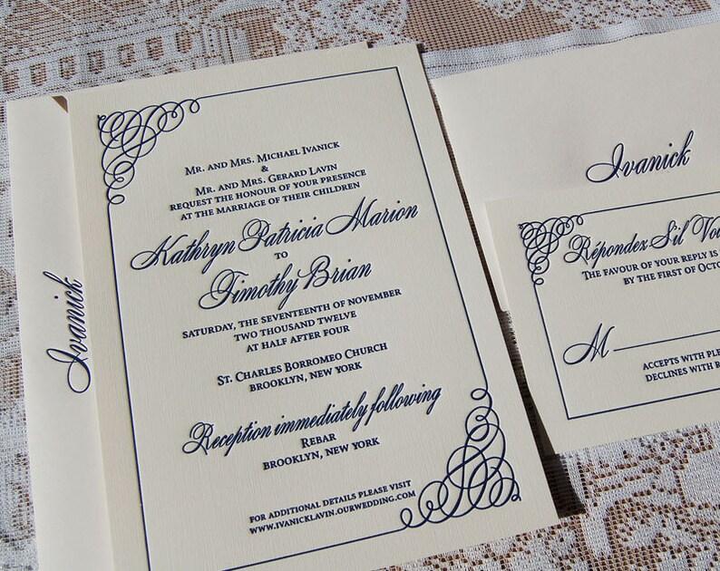 Letterpress Wedding Invitation Sample Simple Classic Invitations Custom