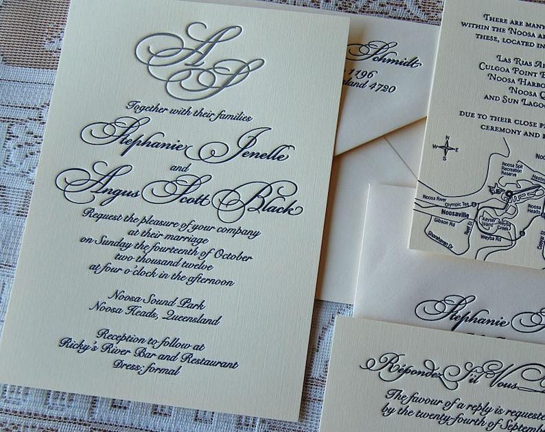 Letterpress Wedding Invitation Sample Monogram Classic
