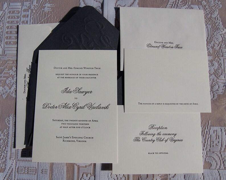 Letterpress Wedding Invitation DEPOSIT Invitations Suite Elegant