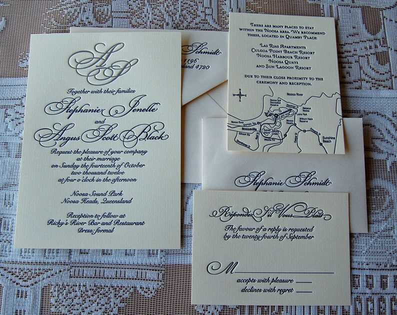 Letterpress Wedding Invitation DEPOSIT Monogram Classic