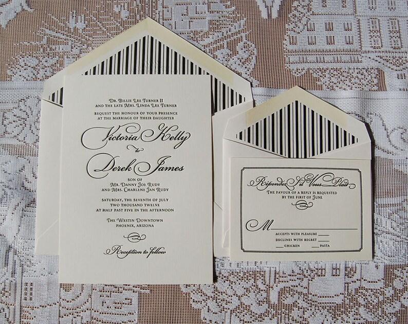 Letterpress Wedding Invitation DEPOSIT Classic Suite Calligraphic
