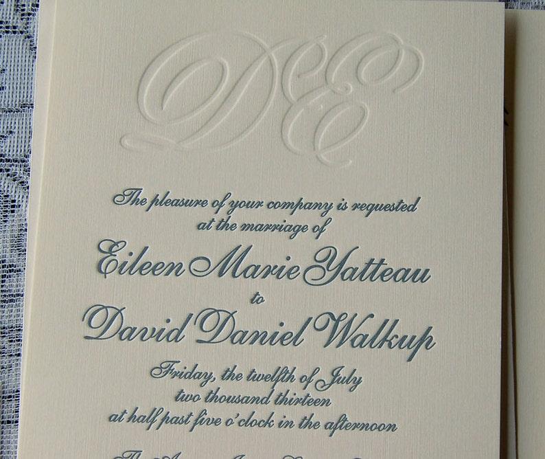 Letterpress Wedding Invitation Sample Monogram Classic Invitations