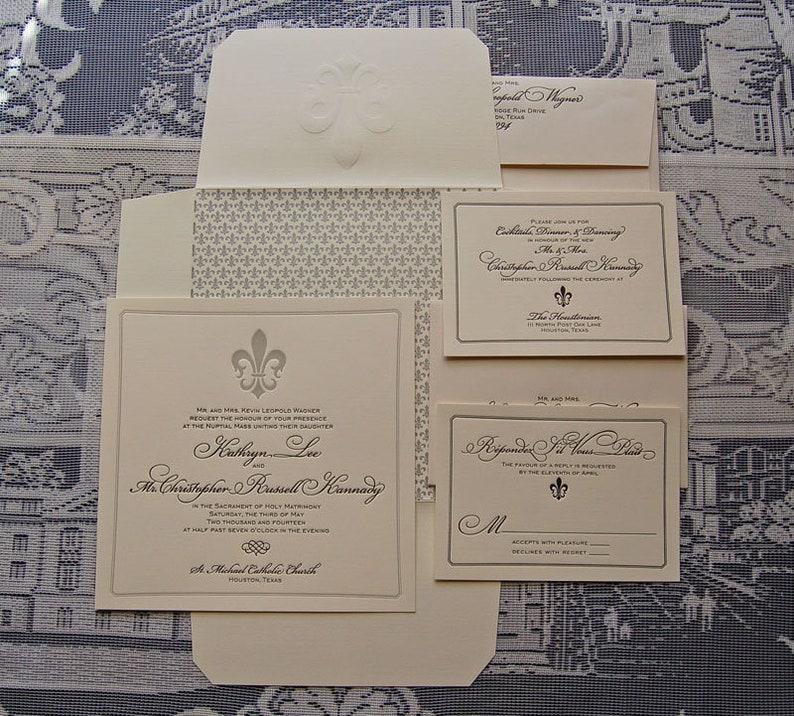 Letterpress Wedding Invitation DEPOSIT Classic Fleur De Lis French