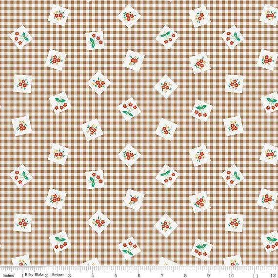 Gingham Farm Fabric Material by the METRE