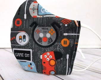 Video game controller kids mask | gamer, games, gaming controller gray cloth face mask