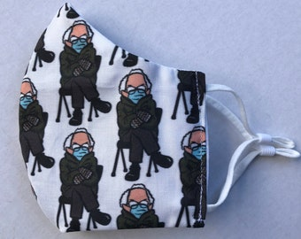 Bernie in Mittens - Bernie Sanders - 3-layer cloth face mask - 100% Cotton - Old Man MOOD