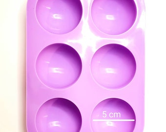 6-Cavity 5cm Semi-Sphere Dome Silicone Mold 2 PACK for resin, baking, soap, chocolate