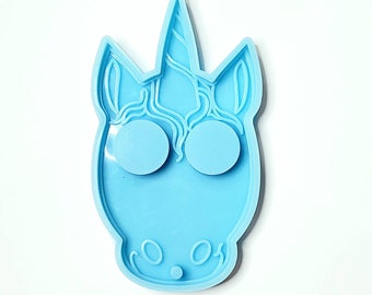 Unicorn Face Defense Keychain Silicone Mold for Resin
