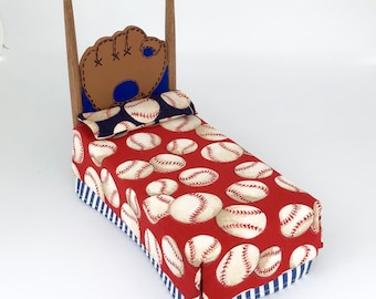 Dollhouse Miniature 1:12 Scale Handmade Baseball Twin Bed