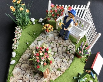 Dollhouse Miniature Garden Scene with Doll