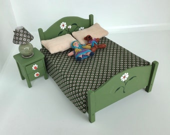 Dollhouse Miniature Bed, Bedding, Side Table, Lamp and Stuffed Toys