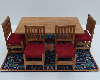 Dollhouse Miniature Handmade Table, Chairs and Area Rug for 1:12 Scale Dollhouse