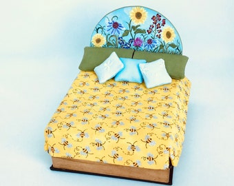Handmade Dollhouse Miniature Honey-Bee Themed Double Platform Bed in 1:12 scale