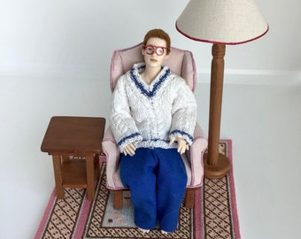Dollhouse Miniature, 1:12 Scale Chair, Side Table and Lamp