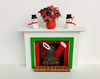 Dollhouse Miniature Christmas Fireplace with Snowmen, Poinsettia, Stockings and Logs