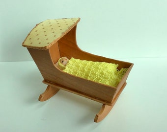 Dollhouse Miniature Cherry-Wood Cradle and Swaddled Baby