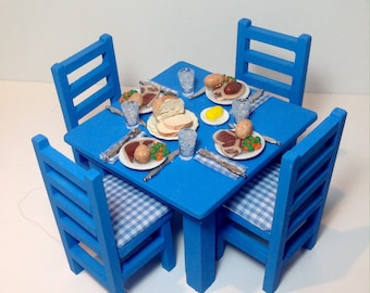 Dollhouse Miniature Roast Beef Dinner with Blue Table and Chairs