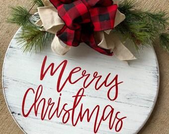 Merry Christmas Ornament Sign.Christmas Door Decor Etsy