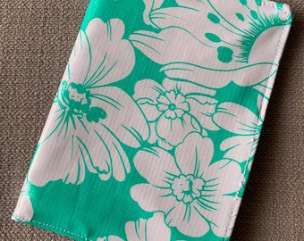 Teal and White Oil Cloth Travel Wallet
