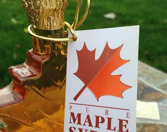 FREE SHIPPING 100% Pure Vermont Maple Syrup in Decorative GLASS Maple Leaf Bottle Wedding Favors
