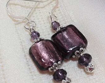 Square Purple Lampwork Earrings, Purple Silver Lined Earrings,Purple and Silver Women's Jewelry, Silver Foil Lined Lampwork, Earrings Gift