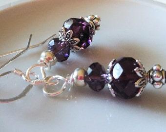 Purple Crystal Drop Earrings, Purple and Silver Earrings, Amethyst Purple Crystal Earrings, Silver and Purple Jewelry, Women's Jewelry Gift