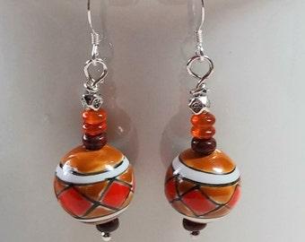 Southwest Style Ceramic Earrings, Southwest Style Agate Earrings, Women's Southwest Gemstone Jewelry, Simple Everyday Drop Earrings, Artisan