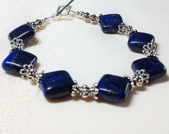 Lapis and Silver Bracelet, Diamond Shape Lapis Bracelet, Blue Lapis Lazuli Jewelry, Women's Blue and Silver Bracelet, Jewelry Gift For Her