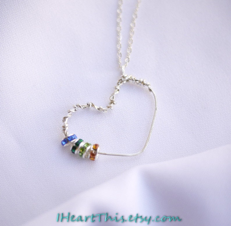 7079d254e0766 Handmade Heart Pendant Necklace- Birthstone Swarovski Crystals by I Heart  This