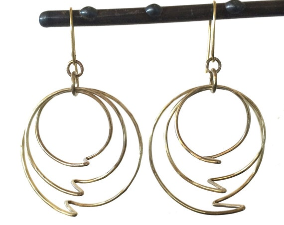 Lightning Bolt Yellow Brass Hoop Earrings