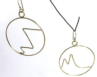 Abstract Unmatching Brass Hoop Earrings