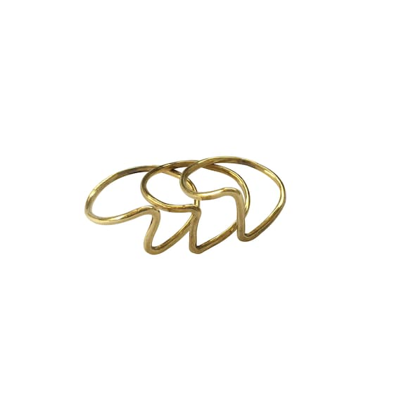 Set of 3 Stackable Lightning Bolt Rings