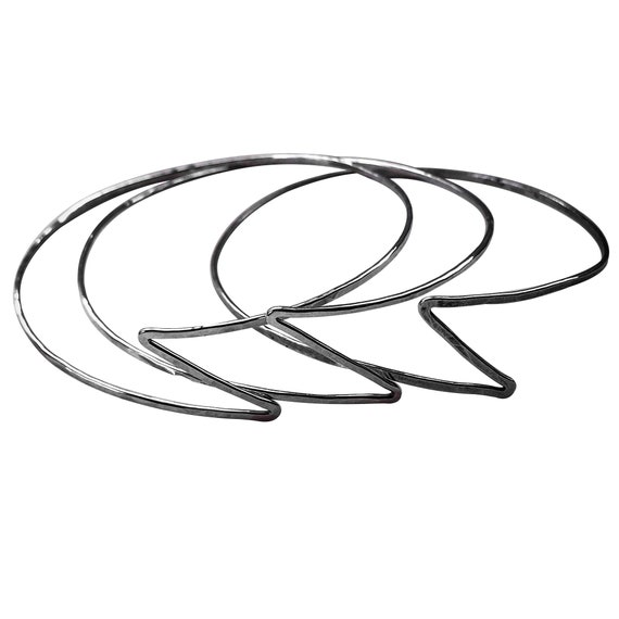 Set of 3 Sterling Silver Lightning Bolt Bangle Bracelets Handformed Hammered Thin Lightweight